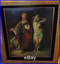 Herrera Signed 1950's Nude Painting Moroccan Orientalist Large Oil Vintage