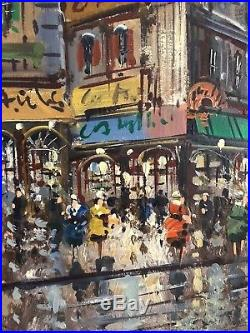 HUGE Mid-Century SIGNED A. Jouteuier OIL PAINTING French PARIS Street Scene VTG