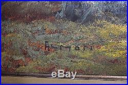 HUGE Signed ALMON Vintage Mountain Lake Autumn Landscape Canvas Oil Painting