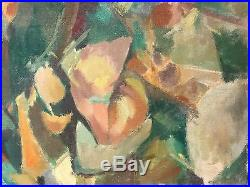 Huge Vintage French Cubist Expressionist Oil Painting Signed & Dated Stunning