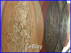 HUGE Vintage ABSTRACT CIRCLES 62 Oil Painting MID-CENTURY MODERN Wall Art MCM