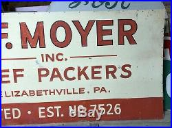 HUGE Vintage Painted Metal AF MOYER BEEF PACKERS 12' Sign Cow HEREFORD Cattle