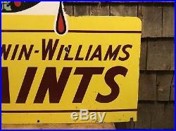 HUGE Vintage SHERWIN WILLIAMS Paints Die Cut Porcelain Flange Sign 48x33 DEAL