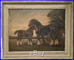 HV Lake Original Vintage Oil Signed Framed On Canvas Shire Horse With Foal