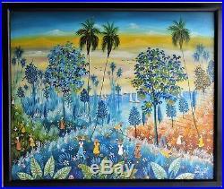Haitian Art Vintage Oil Painting Canvas 1986 Signed Emile Luis Haiti Art