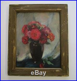 Hoosier Salon Exhibition Painting With Tag By Wallace Stover Antique Flowers Vtg