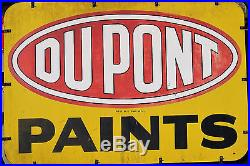 Huge Vintage Dupont Paints Sign with Original Frame Double Sided Metal 1957