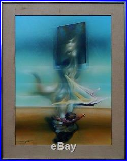 Illegibly Signed Vintage Latin American or Spanish Large Surreal Oil Painting