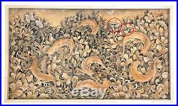Important Vintage Bali Ubud Painting Signed DEWA PUTU MOKOH Geckos Foraging