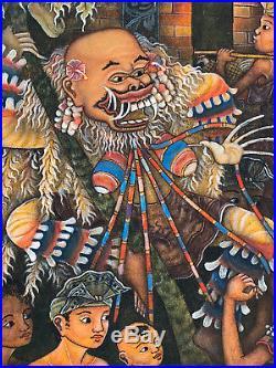 Important Vintage Bali Ubud Painting Signed I Made Sanggra (b. 1942)