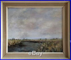 Impressionist Vintage Oil Painting Of A Rural Scene With River. Signed