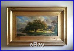 Incredible Vintage Hudson River School Style Landscape Oil On Canvas Signed Cole