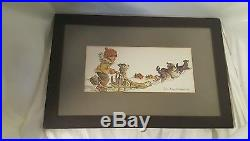 JOAN AREND KICKBUSH. SIGNED VINTAGE WATERCOLORS ESKIMO CHILD with DOGS