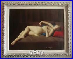 JOAN MAYOR Vintage FRENCH ART DECO Oil Painting Portrait of Reclining Nude