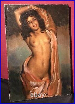 JOSE CRUZ HERRERA Vintage Signed Oil Painting'Beautiful Young Nude