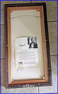 J. Faguet Original Signed Framed Vintage Oil Painting Boy With Bird's Nest MCM