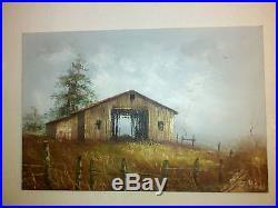 J. Medina Original Oil Painting 24x36 Old Barn Scene Signed Vintage SALE