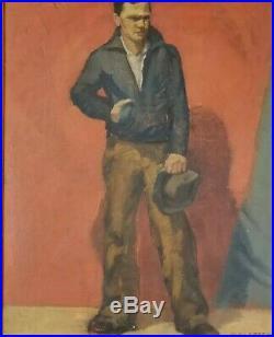 Jack Green California Vintage WPA Era 1930's American Worker Oil Painting Listed