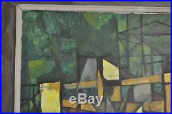 James Thomas Vtg Mid Century Modern Cubist Architectural Art Painting Texas