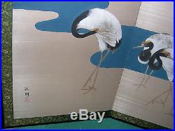 Japanese (Byobu) 4-Panel (Signed) Vintage Folding Screen of Cranes Painting-NICE