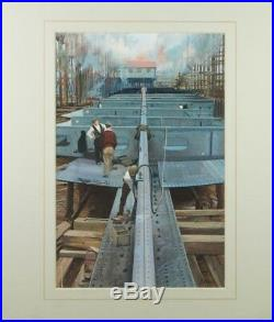 John Berry Watercolour British Industrial Ship Building Ladybird Illustrator