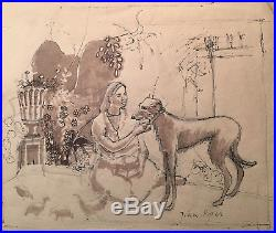 John Piper Original Fine Vintage Watercolour Hand Signed Woman With Dog