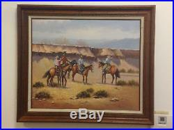 John Stanford Western Cowboy Oil Painting Signed and Framed