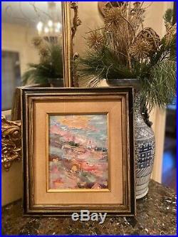 KADLIC Original Oil Painting Abstract Impasto Vintage Gilt Frame 12x14