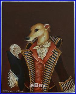 Kim Parkhurst Pop Surreal Lowbrow Vintage Costume Greyhound Original Canvas 2004