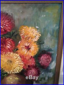 LARGE VINTAGE 70s FLORAL STILL LIFE OIL PAINTING TEXTURAL CHRYSANTHEMUMS Signed