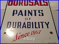 Large Vintage Burdsal's Paint Of Durability Porcelain Sign. Double Sided Sign