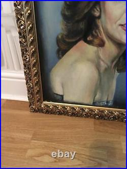 LARGE VINTAGE RETRO KITSCH 70s LADY PORTRAIT PAINTING OIL ON CANVAS SIGNED