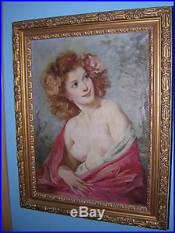 Large Vintage Signed Hungarian Listed Maria Szantho Nude Girl Beauty Painting