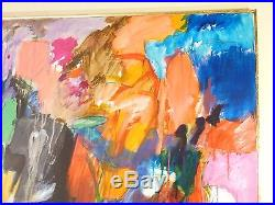 LARGE Vintage ABSTRACT EXPRESSIONIST OIL PAINTING MID CENTURY MODERN Signed