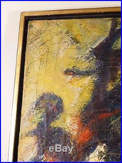 LARGE Vintage ABSTRACT EXPRESSIONIST OIL PAINTING MID CENTURY Signed 1940s
