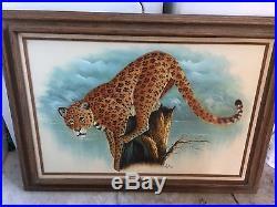 LARGE Vintage Painting SIGNED ASTON Cheetah Jaguar Animal Kitschy canvas oil