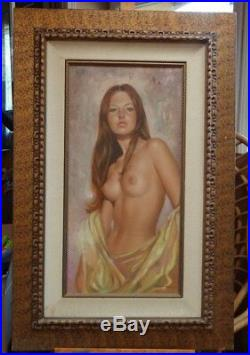 LEO JANSEN Nude Woman Painting 15 X 30 Framed signed front and back
