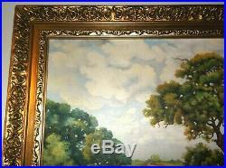 LG Vintage 1950 Oil Painting-Bluebonnet Landscape-Framed-Signed