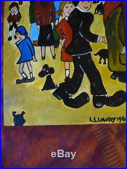 L. S. Lowry painting. Oil, signed, busy scene with people and dogs. Vintage