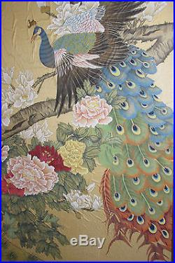 Large 42 Vtg Chinese Painting On SILK Peacocks and Peonies Wealth Signed