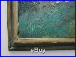 Large Abstract Painting Vintage Modernist Non Objective Blue Green Signed Dvust