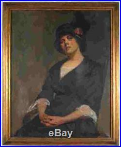 Large Antique Vintage WPA Oil Portrait of a Lady Painting Framed Signed Woman