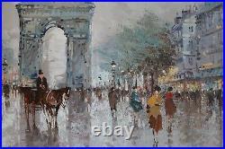 Large Antonio DeVity Vintage Oil Painting Paris Street Scene Arc de Triomphe