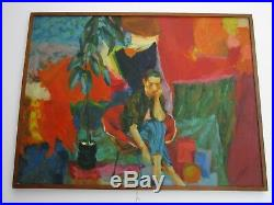 Large Figural Kessler Painting Abstract Expressionism Vtg Impressionist Woman