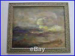 Large Landscape Painting American Impressionism Elizabeth Thompson Vintage