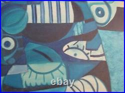 Large MID Century Painting Abstract Cubist Cubism Couple Blue Lovers Vintage Oil
