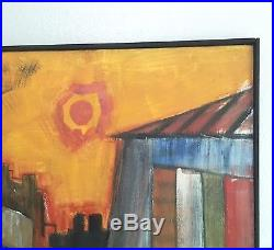 Large Mid-Century Cityscape Painting, Colorful Vintage Modernist Artist Signed