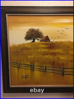 Large Mid Century Signed Matson Oil On Canvas Painting Vintage Farm House Fence