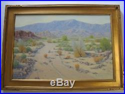 Large Mike Johnson Painting California Landscape 36 Inches Oil Desert Vintage