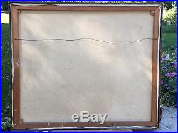 Large Mystery Mid Century Vintage Abstract Painting Oil on Canvas Signed 1969